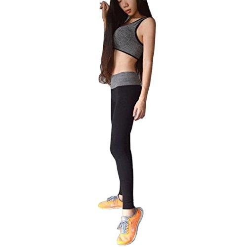 Ouneed® Femmes Fitness Sport Leggings Uni Noir