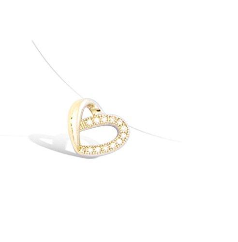 Collana fili nylon e ciondolo cuore in piano cottura oro e ossido di zirconio