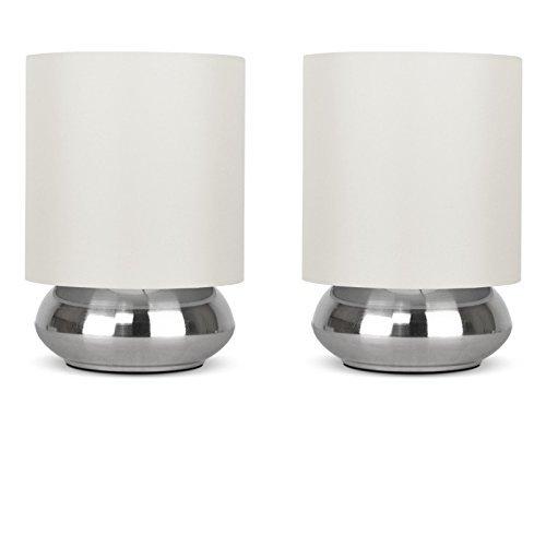 Set di 2 - Lampada rotonda da tavolo con funzione touch, finitura cromata spazzolata e paralume crema di tessuto