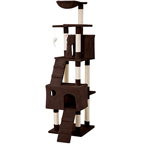 LANGRIA Cat Scraper High Tree House for Pets with Hammock, Cottage, 10 Scrapers and Interactive Toys for Cats to Play Sleeping Scratching (173 cm Tall, Brown)