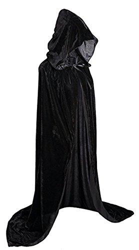 UnisexDamen Herren Mantel Kostüm Cape mit Kapuze Umhang für Erwachsene für Halloween Party Kostüm (Schwarz Herren Cape)