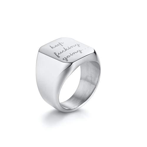 Aeici Gothic Ring Herren Siegelring Eingraviert Keep Fking Going Ringe Silber Ringgröße 62 (19.7) (Mondstein Ring Claddagh)