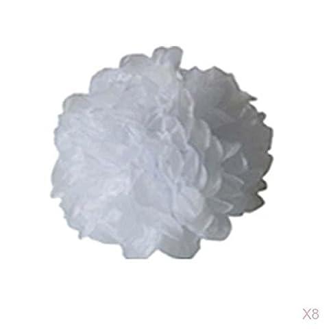 Lot de 8pcs Pompons Boule de Fleur en Papier de Soie DIY Décoration de Noël Mariage Fête (Blanc,