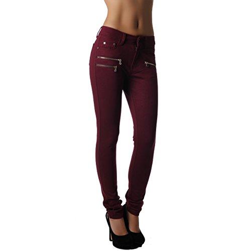 Damenhose Jegging Legging Zipper stylisch H086 Bordeaux