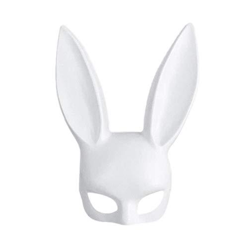 ShinyAmber Lange Ohren Kaninchen Maske Hase Maske für Party Kostüm Cosplay Halloween Maskerade Bar (Weiß Matt)