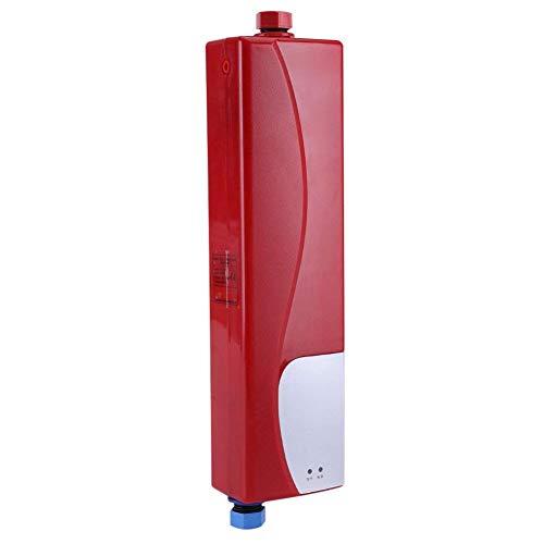 3000 W elektrischer Mini-Durchlauferhitzer, ohne Tank, mit Druckluftventil, 220 V, mit EU-Stecker, für Haus, Küche, Bad, (weiß/rot), Socialme-eu