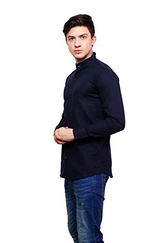 Dennis-Lingo-Mens-Solid-Casual-Full-Sleeves-Slim-fit-Navy-Blue-Cotton-Shirt