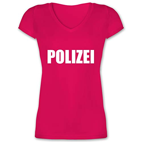 Damen Polizei Kostüm Shirt - Karneval & Fasching - Polizei Karneval Kostüm - XL - Fuchsia - XO1525 - Damen T-Shirt mit V-Ausschnitt