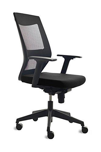 Bürostuhl mit schwarzem Rücken REGULACION Mesh Rückenlehne und Sitz gepolstert schwarz -