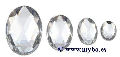Acryl Oval (efco-Deko Stein Facet Oval Set, Acryl, Crystal, 8x 10/10x 14/13x 18/18x 25mm, 30/10/10/2-teilig)