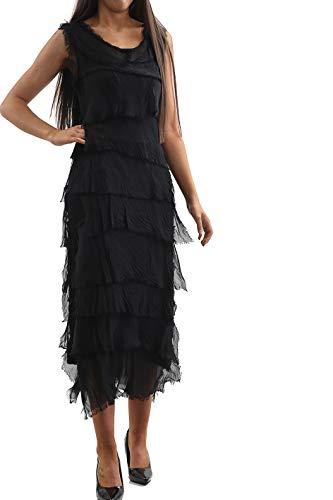 N A COLLECTION Neue Damen italienische Lagenlook Seide Flap Over Shredded Layer Look Plain Plissiert Kleid (Einheitsgröße: Regular, Schwarz) -