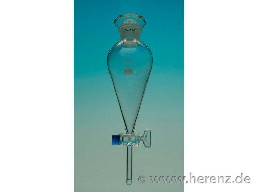 Scheidetrichter birnenförmig mit NS 29/32 Stopfen und Glashahn 500ml Volumen 10mm Auslassdurchmesser 70mm Auslasslänge