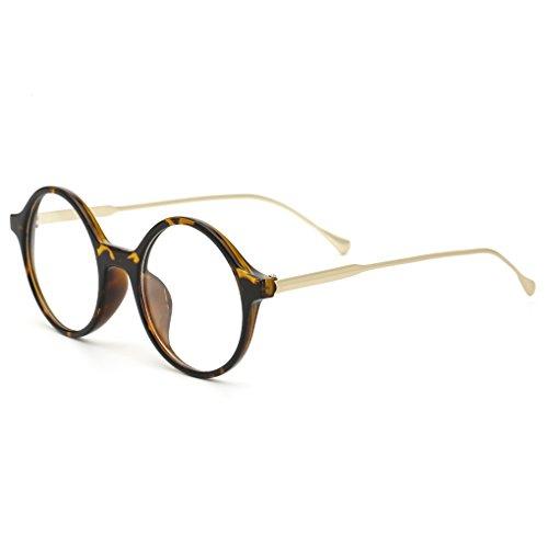 QHGstore Rotondi degli occhiali delle donne degli uomini di lusso PC occhiali materiale cornice d'epoca NO.3