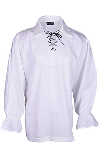 Rinascimento Casuale Estate Pirate Shirt Costume Medioevale Uomini Colore Bianco Large Size