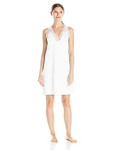 HANRO Damen Valencia NW/Nachthemd o.Arm, Weiß (White 0101), 40 (Herstellergröße: S) (Valencia Slip)