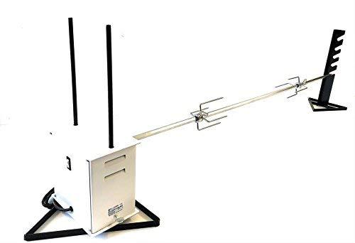 Girarrosto professionale allegri® elettrico gigante portata max 45 kg spiedo acciaio inox sezione esagonale antiflessione spessore 16 mm lunghezza cm 140 con coppia fermacarne 4 punte inox