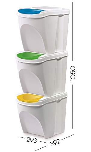 KrysGo-20-Litre-Large-Stackable-Recycling-Sorting-Colour-Coded-Plastic-Bins-with-Hinged-Lids