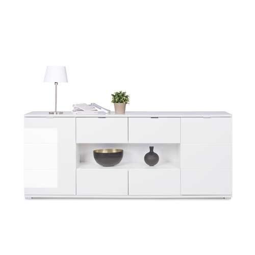 Sideboard in weiß Hochglanz, chromatierte Metallgriffe, wendbare Rückwände, Füße silber lackiert,Maße: B/H/T ca. 200/85/40 cm - 2