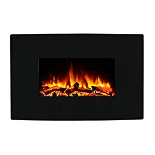 Endeavour Fires Egton Wall Mounted Electric Fire, Black Curved Glass, 1&2kW, 7 day Programmable remote control (W 910mm x H 580mm x D 180mm)