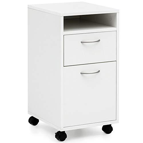 Moderne Holz Türen (FineBuy Rollcontainer FB14690 Weiß 33x63x38 cm Schreibtisch-Unterschrank Holz | Roll-Kommode Modern | Bürocontainer Schubladenschrank mit Tür | Kleiner Schreibtischschrank mit Rollen)