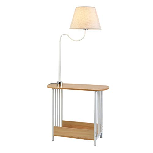Home mall- Stehlampe mit Tisch Stehlampe mit Stoff Lampenschirm und Holz Desktop 130cm -