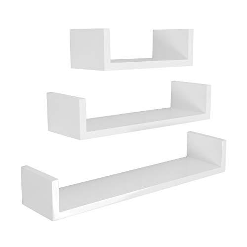 LEMAIJIAJU Wandregal 3er Set U-Form Schweberegal Bücherregal Hängeregal Wandboard 60/45/30cm Belastbarkeit 15kg Weiß
