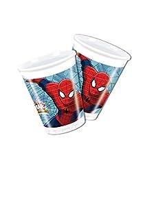 Procos 85152-Platos Papel Ultimate Spider Man Web Warriors, Ø20cm, 8piezas, rojo/azul/azul