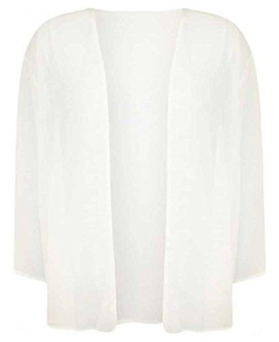 Top Fashion Kurvige Frauen Plus Size Licht lose Chiffon Sheer Kimono öffnen Cardigan EU-Größe 44-54 Cream
