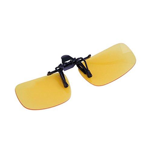 Driving Night Vision Gafas graduadas con lentes Flip-up Gafas para lentes con clip Unasex anti-UV 400 Unisex para mujeres y hombres - Yellow Night Vision S
