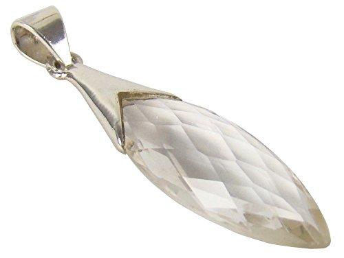 Unique exklusiver Jugendstil Ketten Anhänger Bergkristall Tropfen Crystal Clear eingefasst in 925 Sterling Silber 8.6 Karat in Juweliers- Qualität