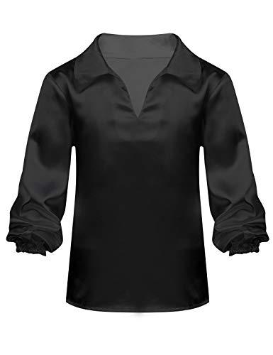Alvivi Kinder Jungen V-Ausschnitt Langarmshirt für Ballerina Latein Jazz Hip-Hop Gymnastik Wettbewerb Tanz Party Clubwear Schwarz 164-170/13-14Jahre