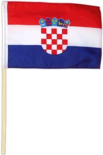 Kroatische Flagge (Fahne Flagge Kroatien 30 x 45 cm mit Stab)