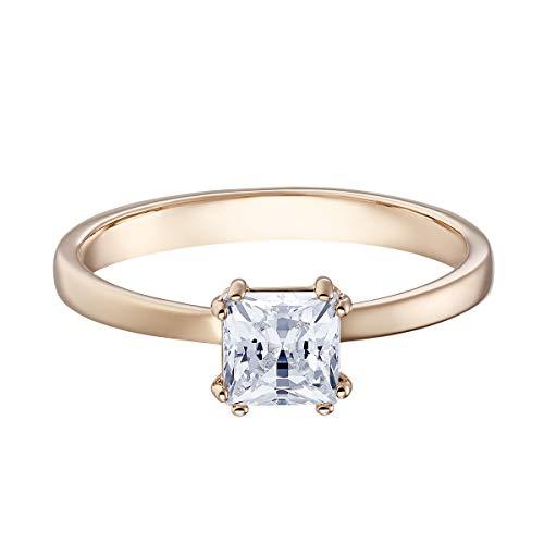 Swarovski anello a motivo attract, cristallo bianco, placcato nella tonalità oro rosa, da donna