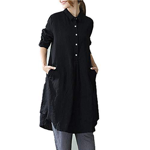 VEMOW Herbst Frühling Elegante Damen Frauen Langarm Tunika Top Bluse Shirt Plus Größe Casual...