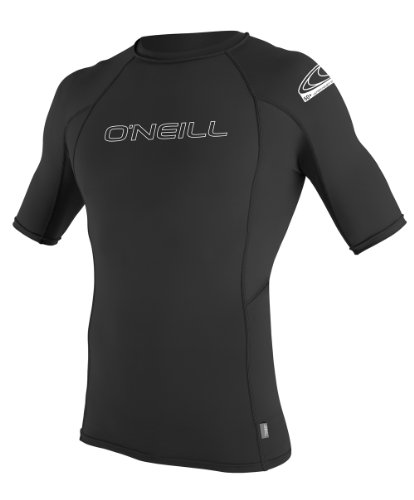 O 'Neill Neoprenanzug Herren UV-Sonnenschutz Basic Skins Short Sleeve Rash Guard Crew Shirt, Herren, schwarz (Guard Neoprenanzüge Skins Crew Rash)