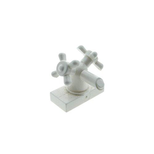Preisvergleich Produktbild 1 x Lego System Wasserhahn weiss 1x2 mit 2 Drehregler Räder Zubehör Wohnen Bad Puppenhaus für Set Harry Potter 4730 4712 10022 3290 6936