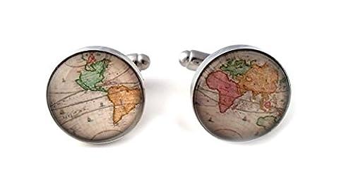 Boutons de manchette et écrin de présentation - Motif monde/Terre, World 5