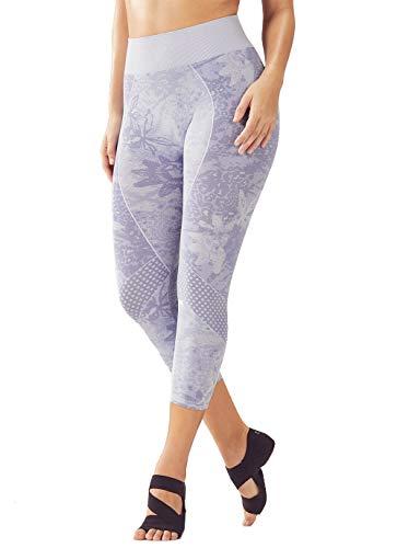 Fabletics Seamless Mid-Rise Jacquard Capri Leggings Hose Sporthose Yoga Running Fitness Workout Damen Tights - Farbe: Grau Heather Iris/Viola - Größe: XS -