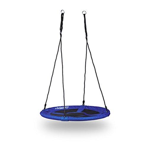 Relaxdays Nestschaukel rund für den Garten, bis 100 kg, geschlossener Sitz, HBT: 153 x 90 x 90 cm, dunkelblau