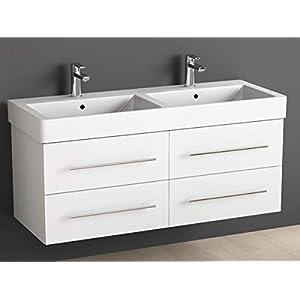 Aqua Bagno Badmöbel 120 cm inkl. Keramik Doppelwaschtisch/Badezimmer Möbel inkl. Waschbecken Unterschrank weiß lackiert