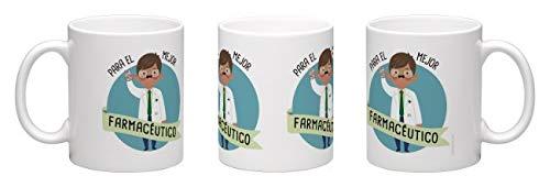 tiendaoink Original y simpática Taza de Porcelana Blanca con asa Decorada con el Mensaje para el Mejor farmacéutico