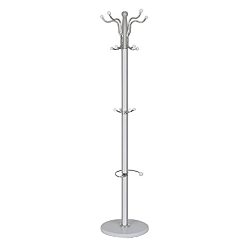 Hat Coat Stand, Hapilife 15 Hooks Heavy Duty Coat Rack Stand and Umbrella Holder with Solid Base for Office Hallway 177 x 37 x 37 cm White