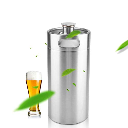 31%2BBIyFom4L. SS500  - Beer Barrel, 5L/3.6L/2L Mini Keg Style Growler Stainless Steel Beer Barrel Holds Beer for Home Camping Picnic(2L)