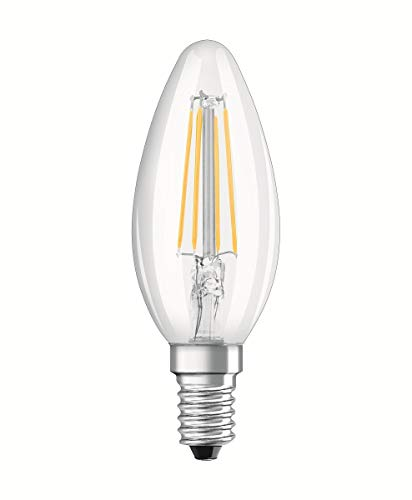 Osram LED Base Classic B Lampe, in Kerzenform mit E14-Sockel, nicht dimmbar, Ersetzt 40 Watt, Filamentstil Klar, Warmweiß - 2700 Kelvin, 2er-Pack -