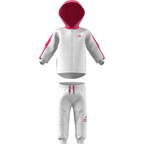 adidas Baby Logo Full Zip Hooded Fleece Trainingsanzug, Light Grey Heather/Real Magenta, 74 - Grey Hooded Full Zip Sweatshirt