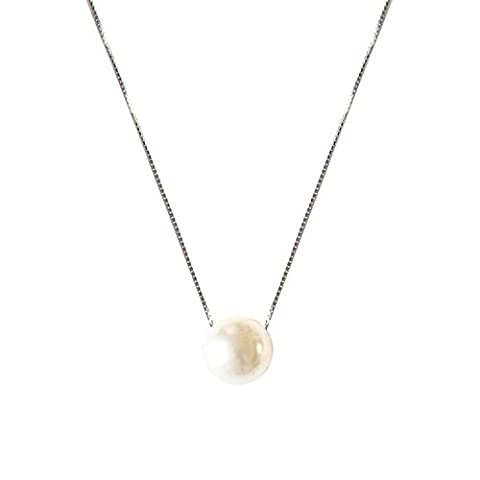 ASTRO 925 sterling silver Necklace Chain Freshwater Cultured White Pearl Pendant Necklace