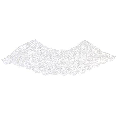 Phenovo Quaste Gehäkelter Blume Baumwolle Ausschnitt Kragen Nähen Applique (Weiß 2) (Stil 01)