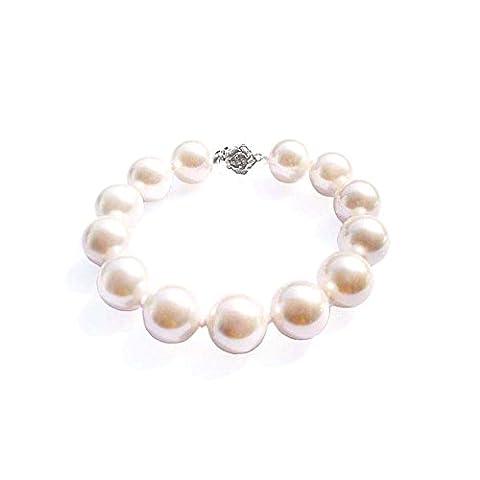 12 mm Klasse AAA Südseeperlen-Armband - Blue Pearls - BPS 1204 O Blanc (Südseeperlen & Diamant-armband)