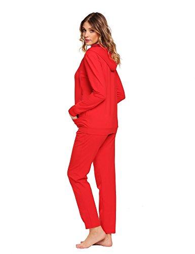 Untlet Damen Schlafanzüge Lange Cotton Pyjama Set Thermo Unterwäsche Set Rot6380