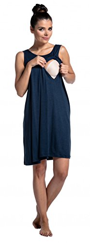 Zeta Ville - Schwangere Still-Nachthemd ohne �rmeln Umstandsmode - Damen - 994c Marine